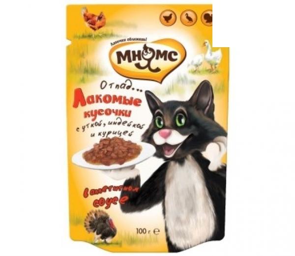 Мнямс паучи для взрослых кошек мясной карнавал (утка, индейка, курица)