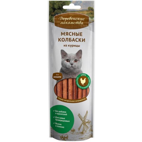 Деревенские лакомства Мясные колбаски из курицы для кошек