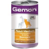 Gemon dog medium консервы для собак средних пород кусочки курицы с индейкой