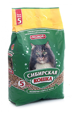 Сибирская кошка Наполнитель Лесной древесный