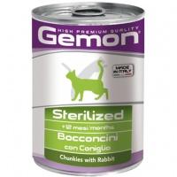 Gemon cat sterilised консервы для стерилизованных кошек кусочки кролика