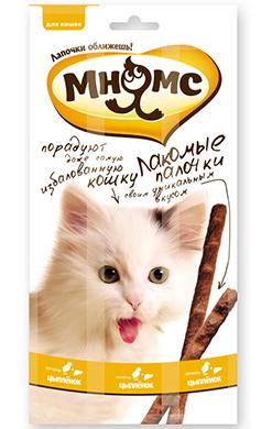 Мнямс лакомые палочки 13,5 см для кошек с цыпленком и печенью