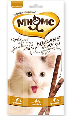 Мнямс лакомые палочки 13,5 см для кошек с цыпленком и уткой
