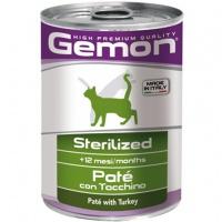 Gemon cat sterilised консервы для стерилизованных кошек паштет индейка